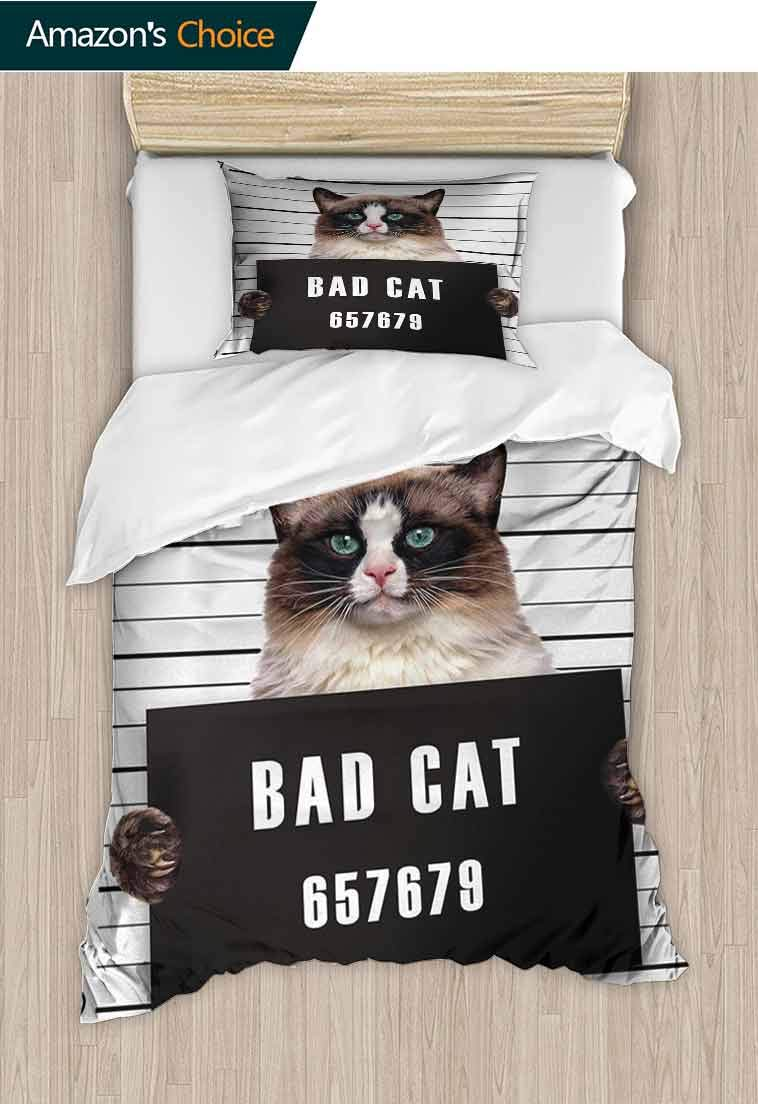 Cat Diy Quilt Cover and Pillowcase Set, Bad Gang Cat in Jail Kitty Under Arrest Criminal Prisoner Hangover Artsy Work, Decorative 2 Piece Bedding Set with 1 Pillow Sham, 47 W x 59 L Inches
