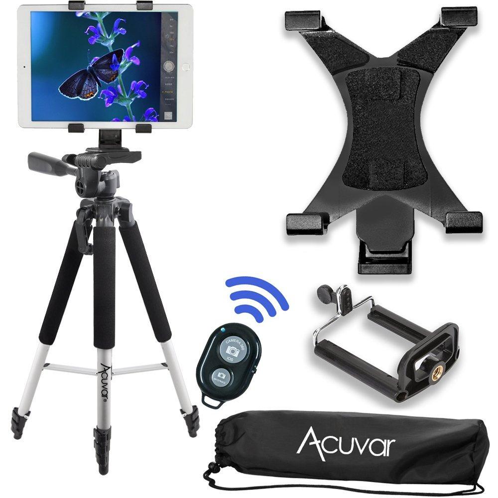 Acuvar 57'' inch Pro Series Tripod, Acuvar Tablet Mount + Universal Smartphone Mount + Wireless Remote for All Smartphone and tablet devices by Acuvar
