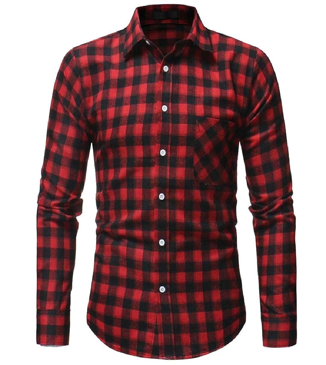 CBTLVSN Mens Fashion Flannel Slim Long Sleeve Plaid Button Down Shirts