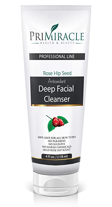 All Natural Deep Facial Cleanser and Daily Natural Face Wash With Rosehip Seed Oil. Skin care for Normal Oily Dry and Sensitive Skin. PriMiracle Professional Line
