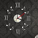 3D Wall Clock Sticker Set Roman Digits Music Notes Diy Mirror Effect Acrylic Glass Decal Home Removable Decoration^.White