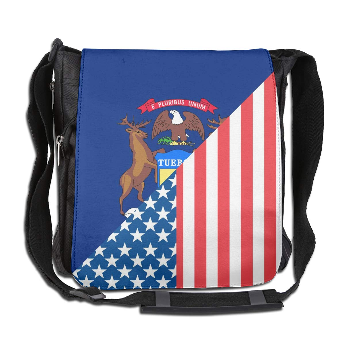 American And Michigan State Flag Crossbody Shoulder Bag Novelty Casual Daily Messenger Bag Satchel School Bag For Women And Men