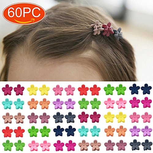 (Elesa Miracle 60pcs Women Girl Kids Mini Hair Claw Clips Flower Hair Bangs Pin Kids Hair Accessories Clips)