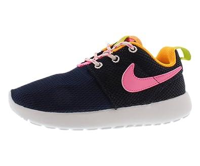 quality design cc643 578e2 NIKE Girls  Toddler Roshe One Casual Shoes Mid Navy Pink Glow Atomic Mango