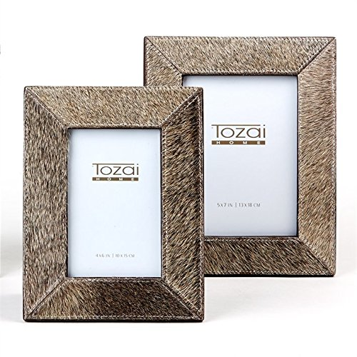 Tozai Natural Cowhide Set of 2 Gray Photo Frames Cowhide Picture Frame