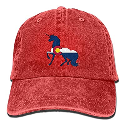 jia3261 Colorado Flag Unicorn Unisex Denim Baseball Cap Adjustable Strap Low Profile Plain Hats Outdoor Casquette Snapback Hats Red from jia3261