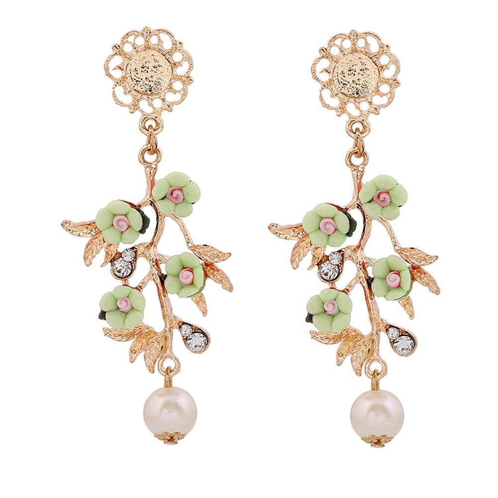 Colored Baroque Flower Branch Faux Pearl Pendant Jewelry Dangle Earrings Decor