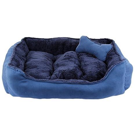 Camas para Perros Pequeño Medio Mascotas Grande Gatos Sofá Lavable Cojín Extraíble SM (S:50 * 40 CM, azul)