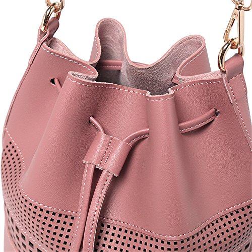 Handtasche Große Kapazität PU Leder Carton Bucket Carved hohlen Handtasche Messenger Bag, Pink Bequem