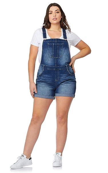 WallFlower Women\'s Juniors Plus-Size Denim Shortalls