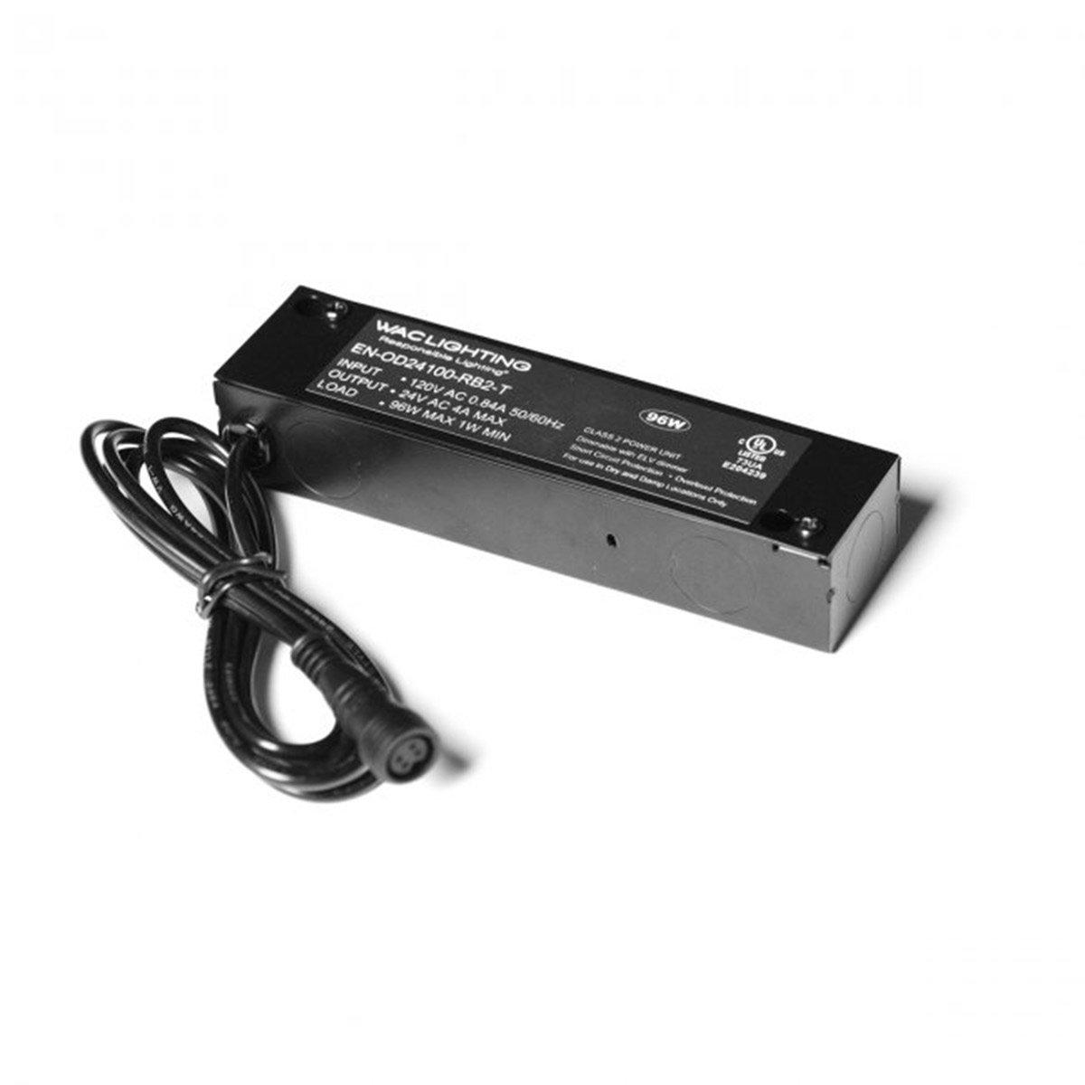 WAC Lighting EN-OD24100-RB2-T Transformer Remote Enclosed Electronic Outdoor Rgb 120V Input 24V Output 100 Watt, Black