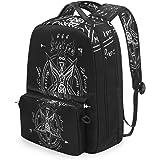 MIJUGGH Canvas Backpack Love Supernatural Pentagram Rucksack Gym Hiking Laptop Shoulder Bag Daypack for Men Women