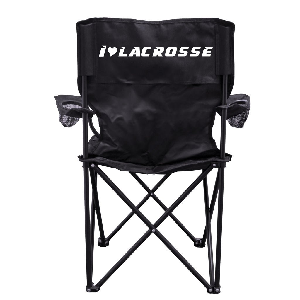 VictoryStore Outdoor Camping Chair - I Love Lacrosse Camping Chair with Carry Bag