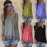 Hylong Fashion New Womens Lady Summer Loose Casual Lace Long Sleeve Sexy T Shirt Tops Blouse Ladies Pullover Jumper Sweater Tee Tops 5 Colors S M L XL Grey L