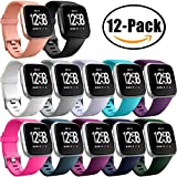 Ouwegaga Fitbit Versa Band Packs Sport, Replacement Bands for Fitbit Versa Smartwatch Fitness Silicone Straps Wristbands for Women Men Small 12 Pack