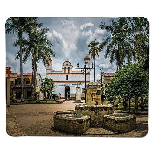 Mouse Pad Unique Custom Printed Mousepad [ Travel Decor,Main Square of Copan Ruinas City Honduras Central America Mayan Town Palms Decorative,Multicolor ] Stitched Edge Non Slip Rubber