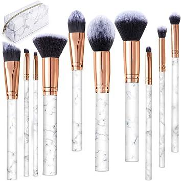 Brochas de Maquillaje, 10 Piezas Pinceles de Maquillaje Profesional Fibra Sintética para Cejas, Base de Maquillaje, Polvos, Crema, Set de Brochas de Maquillaje ...