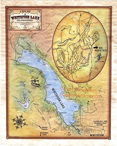 135 Whitefish Lake Montana vintage historic antique map poster print