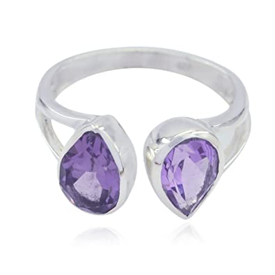 925 Sterling Silver Purple Amethyst Good Gemstones Ring RGPL-Good Gemstones Pear Faceted Amethyst Rings Greatest Jewellery fine Item Gift for Anniversary Great Ring