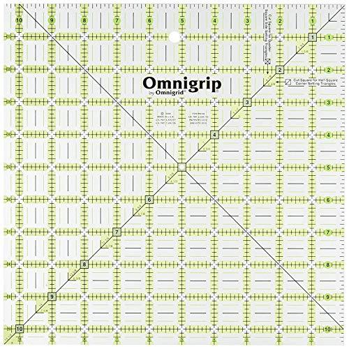 Omnigrip 10-1/2-Inch-by-10-1/2-Inch Non-Slip Quilter's Ruler (Limited Edition) (501 Quilting Motifs)