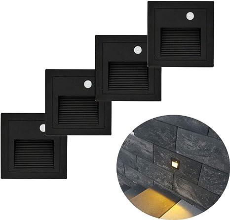 4er Set 3W 230V LED Wandeinbauleuchte Stufenlicht Treppenlicht Alu Außen Schwarz