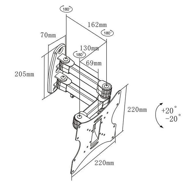 Black Full-Motion Tilt/Swivel Wall Mount Bracket for Emerson LF320EM4 32