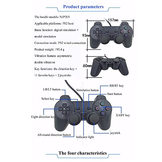 Amazon.com: QMET PS2 Wired Controller for Sony PlayStation 2 Black ...