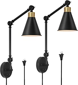 HAITRAL Swing Arm Wall Sconces 2 Pack- Modern Wall Lamps, Dimmable Plug in Wall Lamps for Bedroom Home Decor Headboard Bathroom Farmhouse Porch Garage - Black&Gold (Bulb Not Included)