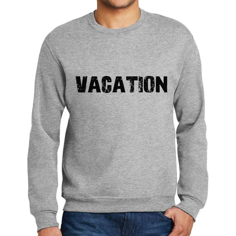 Ultrabasic Men/'s Printed Graphic Sweatshirt Popular Words Vacation Grey Marl