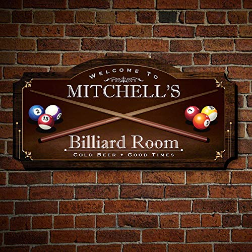 HomeWetBar Billiard Room Personalized Wood Home Sign, Medium Size, for Man Caves, Billiard or Pool Rooms (Decor Billiards Room)