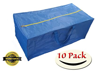 Super 10 Pack Zippered Storage Bags, Extra Large   Blue   Compatible With  IKEA Frakta
