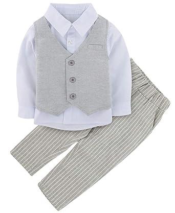 0dfb7be9b A J Design 3 Piezas bebé Niño Formal Ropa Conjunto Boda Outfit (Gris ...
