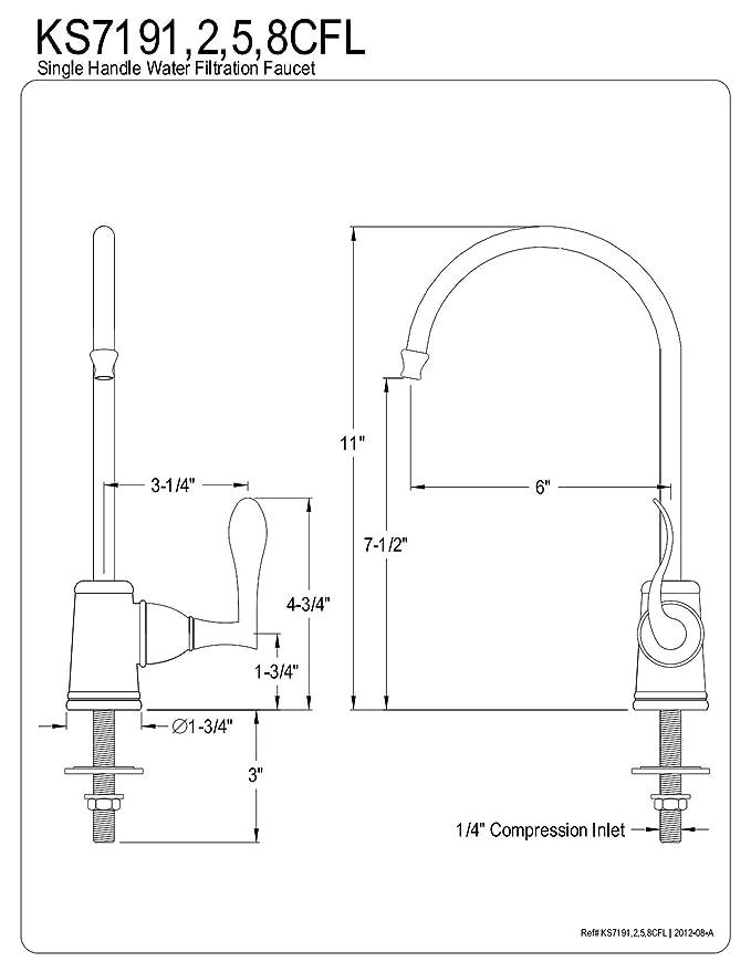 Kingston Brass Gourmetier Ks7195cfl Century Single Handle Water