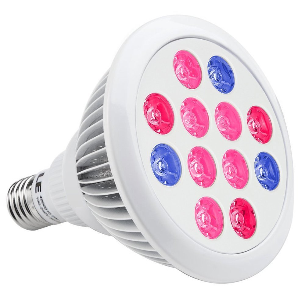 LE LED Grow Lights, 12W E26/E27 PAR38, 3 Bands, 30° Beam Angle, Plant Lights, Red + Blue for Hydroponic,Plants, Flowers, Vegetables, Greenhouse Lighting , Grow Light Bulbs