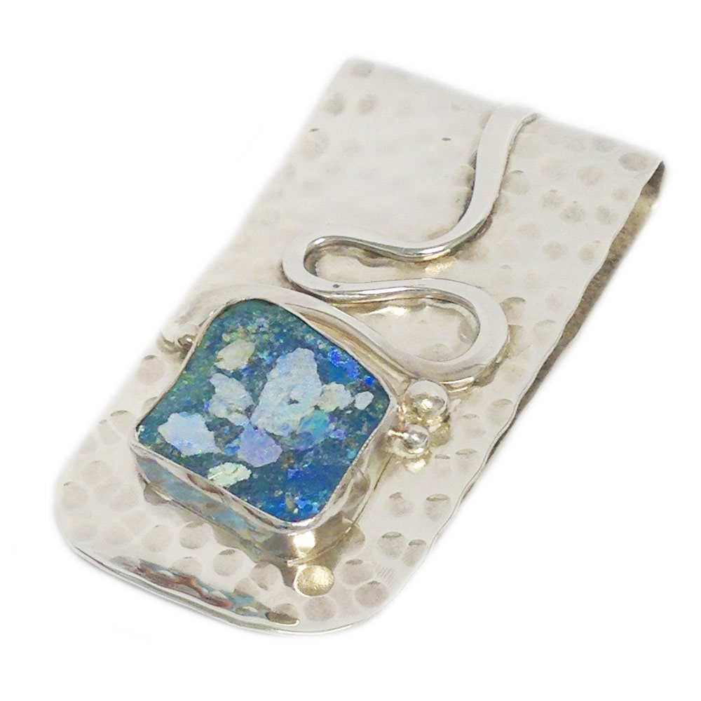 Baltinester Men's Roman Glass Hammered Money Clip Sterling Silver by Baltinester