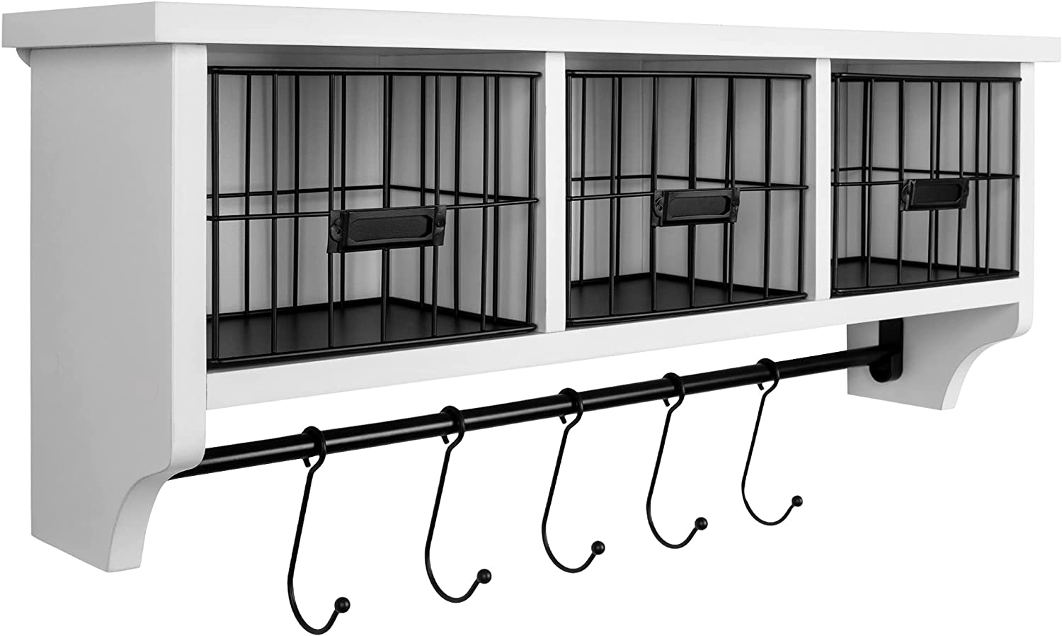 Wood Wall Mounted Shelf with Hooks and Storage Baskets - White Floating Shelves for Storage, Coat Rack, Coffee Bar Accessories - Kitchen Coffee Mug Holder, Entryway and Bathroom Organizer