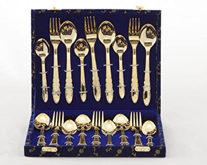 Valerio - 24ct Gold Plated Cutlery Set (2 MM) 18 pcs In Velvet Box & Buy Valerio - 24ct Gold Plated Cutlery Set (2 MM) 18 pcs In Velvet ...