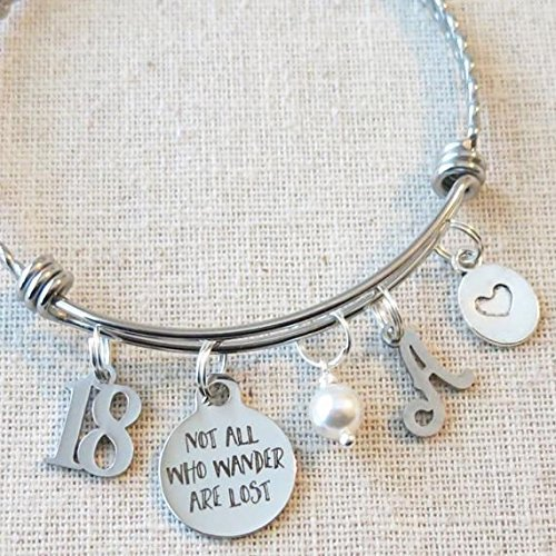 18th BIRTHDAY Gift for Girls, Not All Who Wander Are Lost 18th Gift, Personalized 18th Birthday Charm Bangle Bracelet, Eighteenth Birthday Gifts for Her