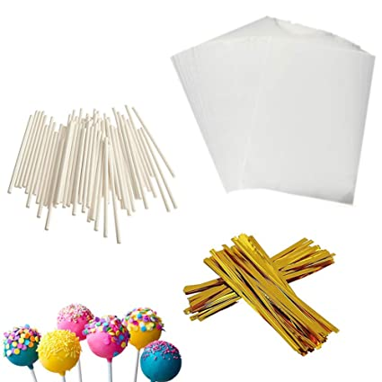 b310e4257d7 Cake Pop Treat Bag Set, 100 PCS White Lollipop Treat Sticks, 100 Pieces  Lollipop