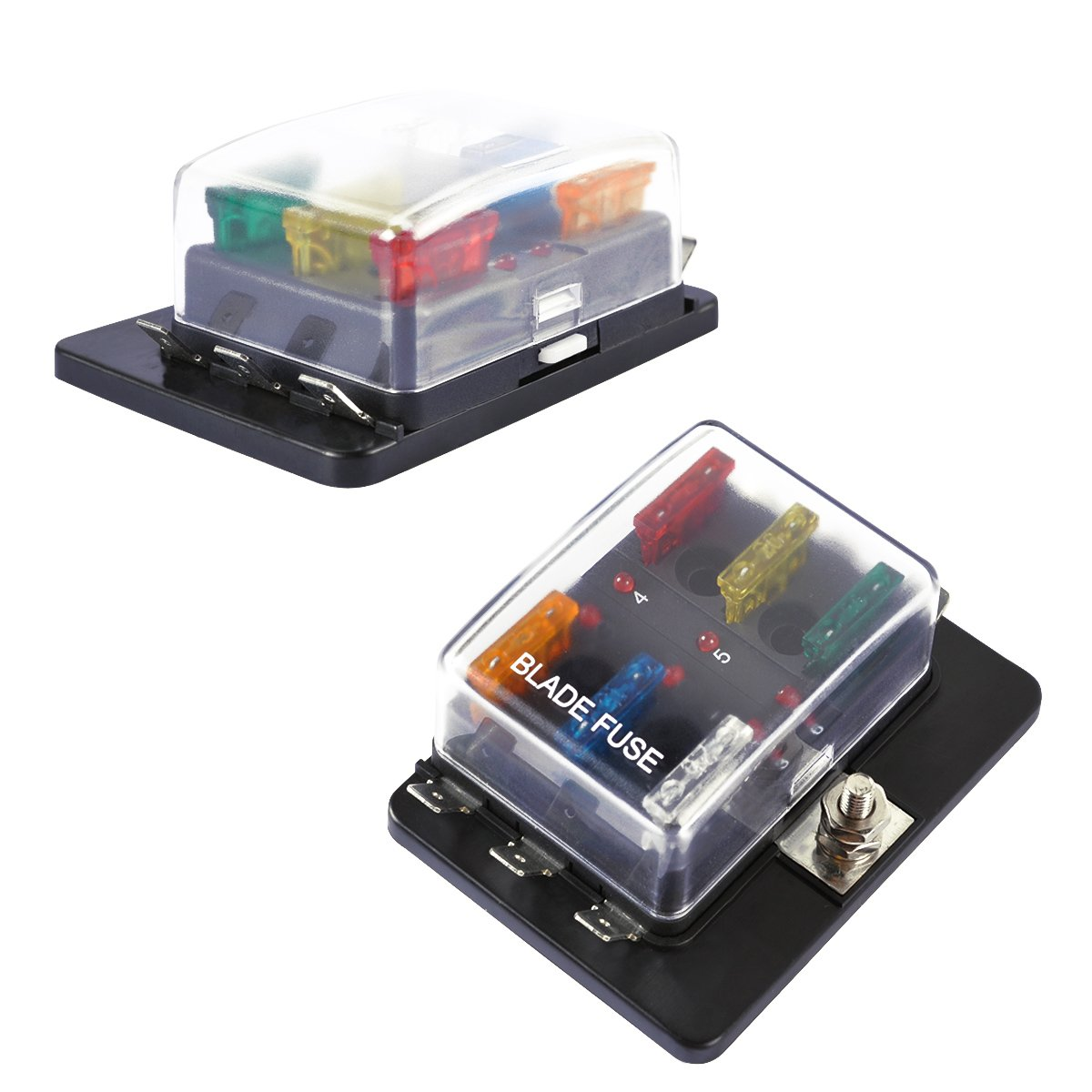 Amazon.com: 6-Way Blade Fuse Block, AutoEC Marine Fuse Box Holder for Car  Boat Marine Trike with Led Safety Indicator for Blown Fuse: Automotive