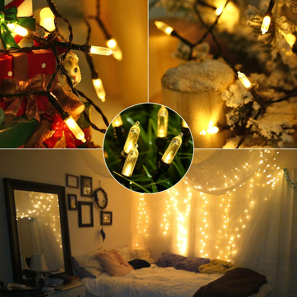 Amazon.com: Lyhope Mini Christmas Lights, Battery Operated 100 LED String Lights 33Ft Waterproof 8 Modes Twinkle Lights for Outdoor & Indoor, ...