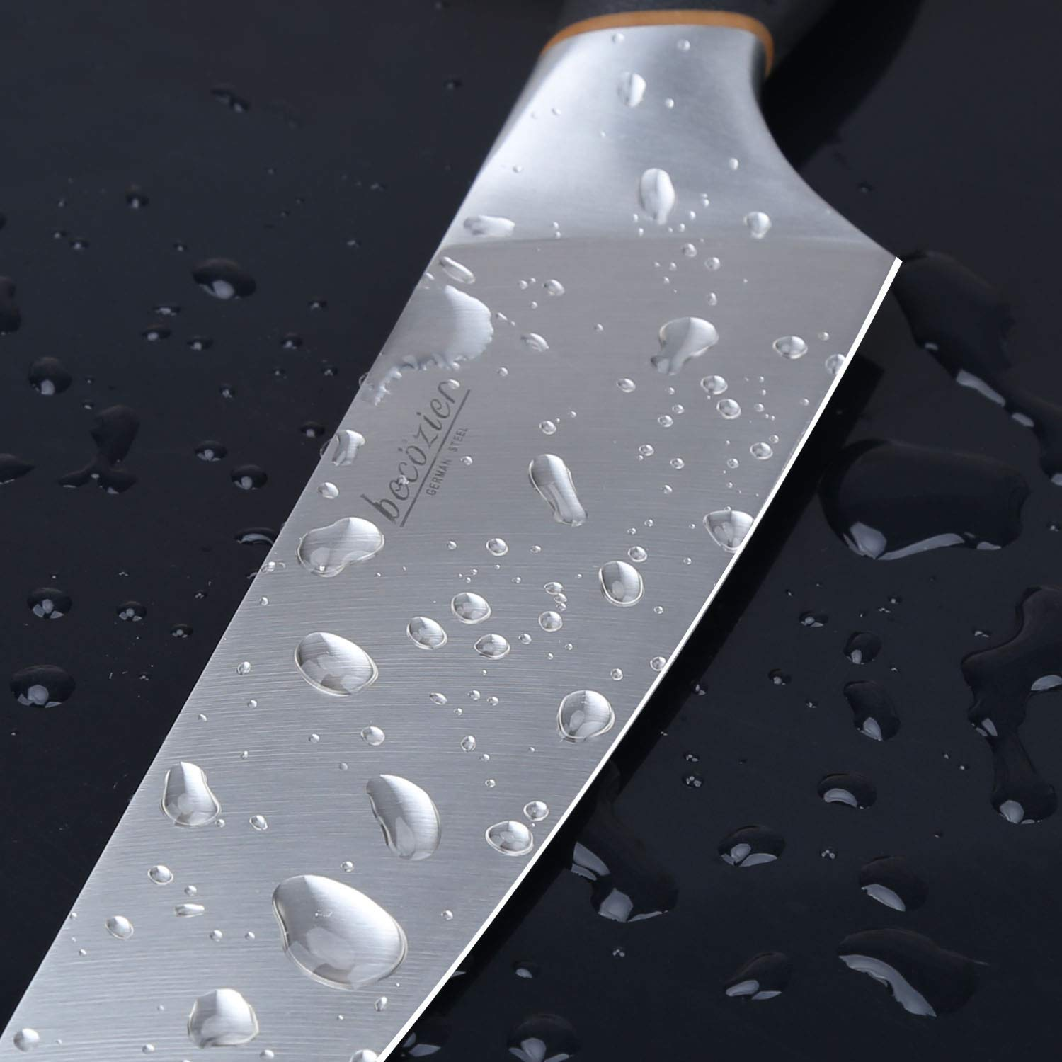Becozier chef knife,8 inch professional kitchen knife,German High Carbon steel stainless steel with G10 handle sharp Edge,Ergonomic Grip by Becozier (Image #6)