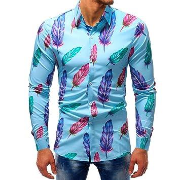 huge selection of b0618 3b736 YunYoud Fashion Herren Printed Bluse Casual Langarm Slim ...