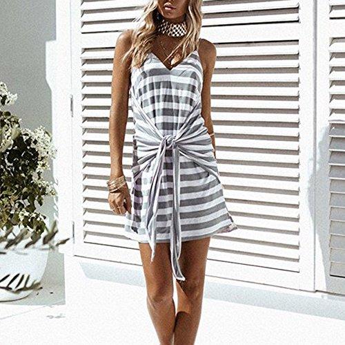 TPulling Damen Gestreiftes Kleider Frau Mode Minikleid Gedruckter ...