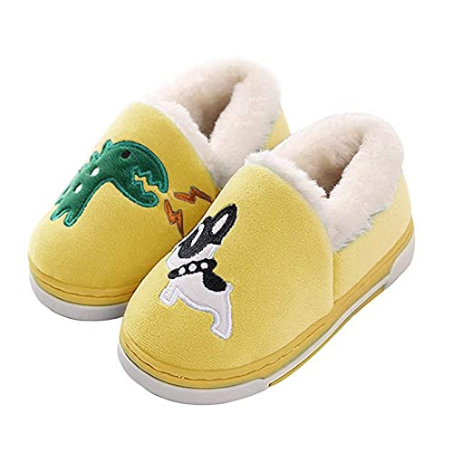 1949c36b5481 Cute Dinosaur Slippers Kids Toddlers Adult Family Cartoon Winter Warm House  Slippers Booties Yellow