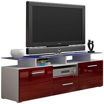Justyou Evoro Mini Meuble Tv Lowboard 147 Cm Couleur Blanc Rouge