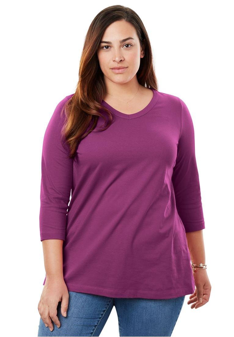 Women's Plus Size Perfect Three-Quarter Sleeve V-Neck Tee
