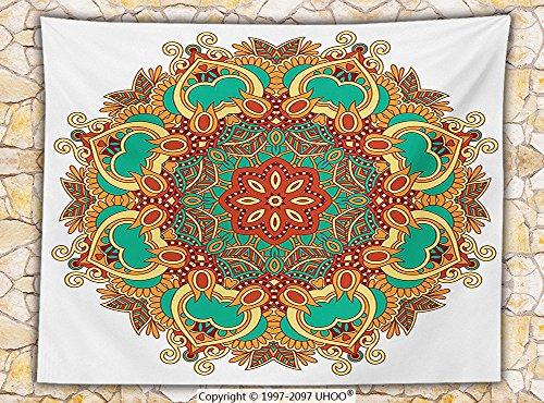 Mandala Decor Fleece Throw Blanket Ornamental Lace Arabesque Style Circle form Pattern with Floral Stencil Motifs Boho Decor Throw Multi
