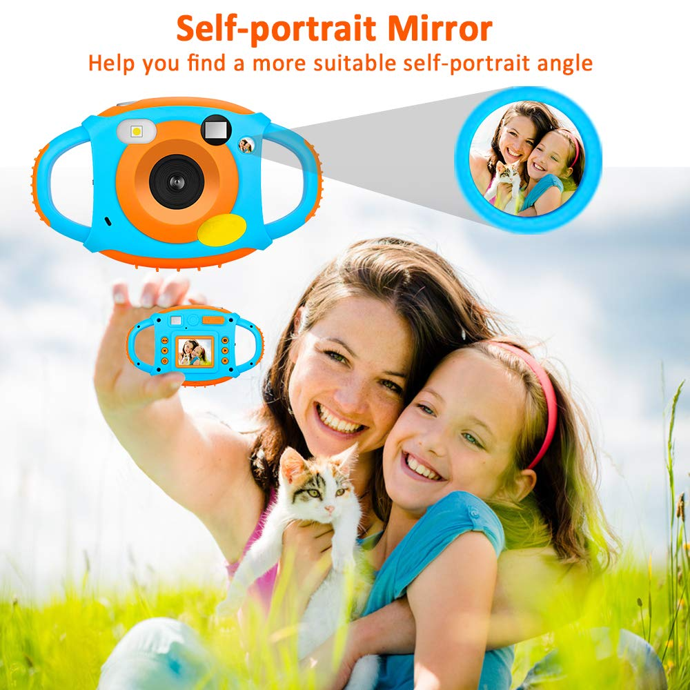 Kids Camera DIWUER Shockproof Digital Camera Children Creative Gift Mini Video Camcorder for Boys Girls with Soft Silicone Shell Mic Flash and 16GB Memory Card by DIWUER (Image #4)