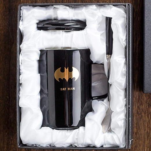 zipkp Taza Creativa De Los Vengadores Taza De Cerámica Simple Taza De Café De Leche De Personalidad Taza De Bebida De Pareja con Tapa Cuchara-Batman (Caja De Regalo): Amazon.es: Hogar